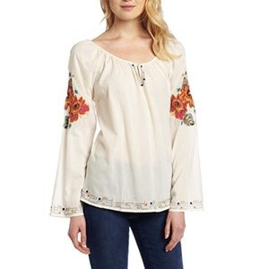 Lucky Brand Embroidered Peasant Floral Blouse Boho